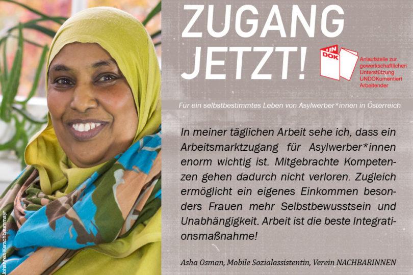 UNDOK-Kampagne ZUGANG JETZT! Asha Osman, Mobile Sozialassistentin, Verein Nachbarinnen