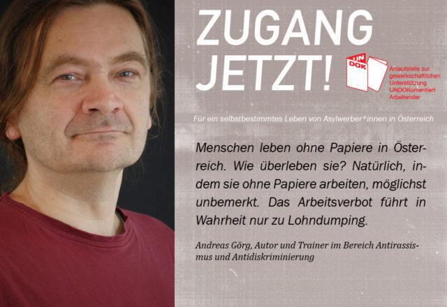 UNDOK-Kampagne ZUGANG JETZT! Andreas Görg, Autor und Trainer im Bereich Antirassismus und Antidiskriminierung
