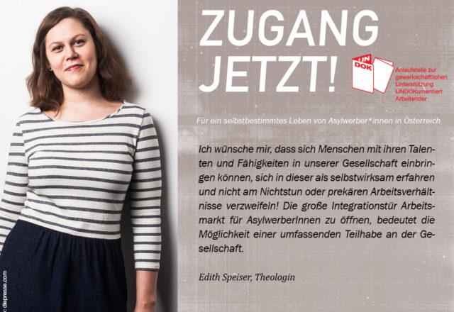 UNDOK-Kampagne ZUGANG JETZT! Edith Speiser, Theologin