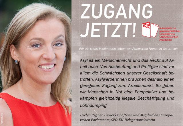 UNDOK-Kampagne ZUGANG JETZT! Evelyn Regner, gewerkschafterin und Mitglied des Europäischen Parlaments, SPÖ-EU-Delegationsleiterin