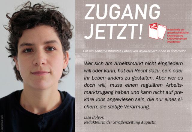 UNDOK-Kampagne ZUGANG JETZT! Lisa Bolyos, Redakteurin der Straßenzeitung Augustin