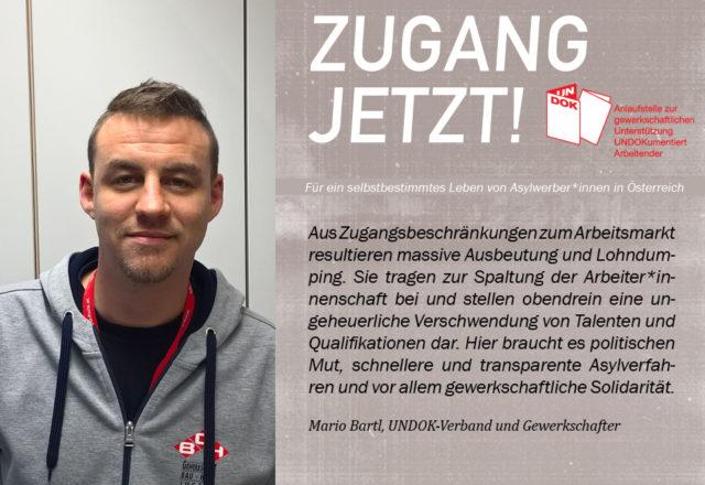 UNDOK-Kampagne ZUGANG JETZT! Mario Bartl, UNDOK-Verband und Gewerkschafter