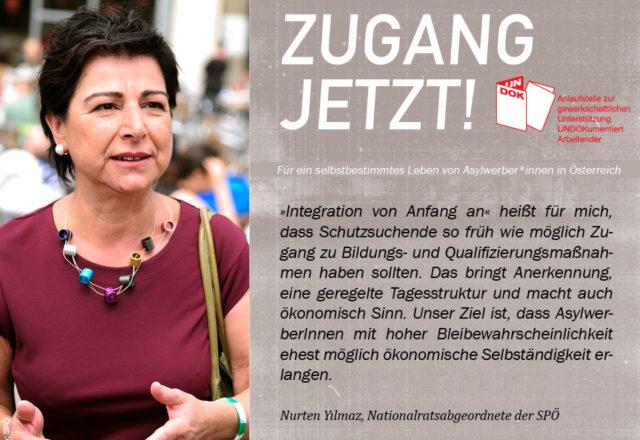 UNDOK-Kampagne ZUGANG JETZT! Nurten Yılmaz, Nationalratsabgeordnete der SPÖ