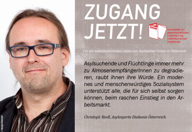 UNDOK-Kampagne ZUGANG JETZT! Christoph Riedl, Diakonie Österreich