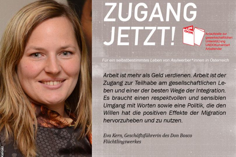 UNDOK-Kampagne ZUGANG JETZT! Eva Kern, Don Bosco Flüchtlingswerk