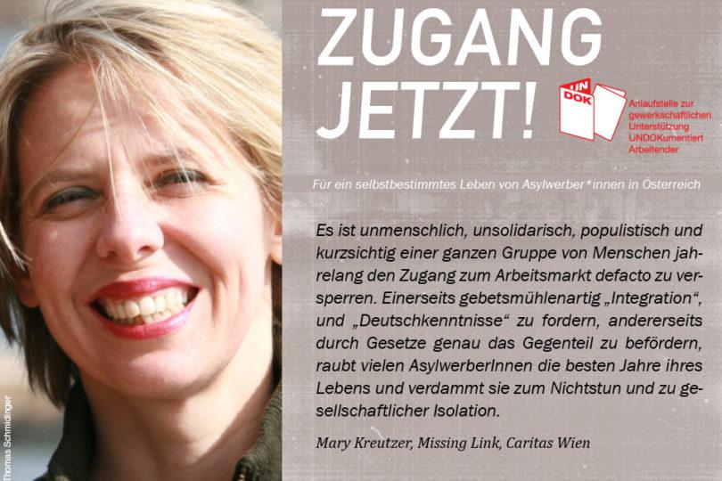 UNDOK-Kampagne ZUGANG JETZT! Mary Kreutzer, Missing Link, Caritas Wien