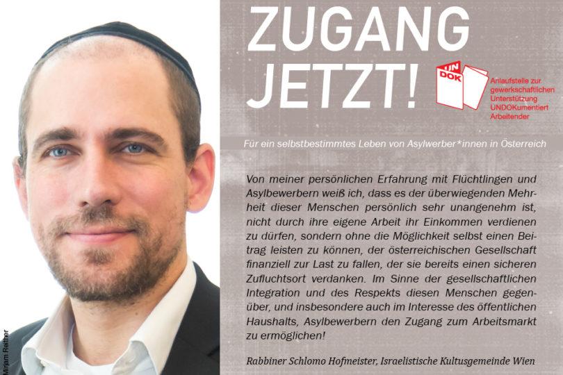 UNDOK-Kampagne ZUGANG JETZT! Rabbiner Schlomo Hofmeister, Israelitische Kultusgemeinde Wien