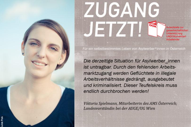 UNDOK-Kampagne ZUGANG JETZT! Viktoria Spielmann, Mitarbeiterin des AMS Österreich; Landesvorständin bei der AUGE/UG Wien